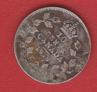 Canada 10 Cents 1918 Silver