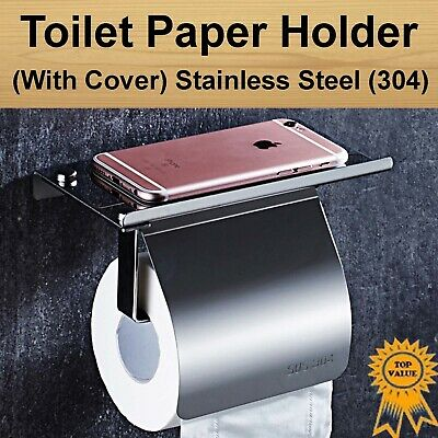 Bathroom Toilet Roll Paper Phone Holder Wall Mount Shelf Stainless Steel 304
