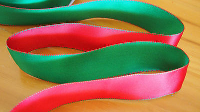 "63MM 2.5"" Christmas Premium Wire Edge Green Red double sided satin ribbon"
