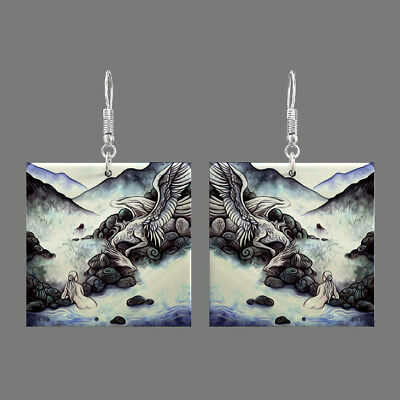 Natural Mother of Pearl Shell Dragon Earrings Square Drop Jewelry S1706 0128