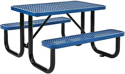 48' Rectangular Expanded Metal Picnic Table Blue