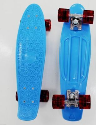 Mini Kids Plastic Skateboard Old School Retro Cruiser Banana Penny Board Blue
