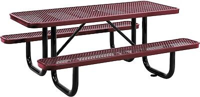 72' Rectangular Expanded Metal Picnic Table Red