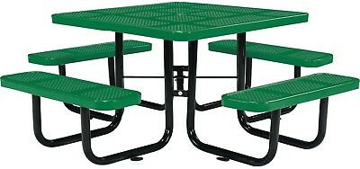 46' Square Perforated Picnic Table, Green