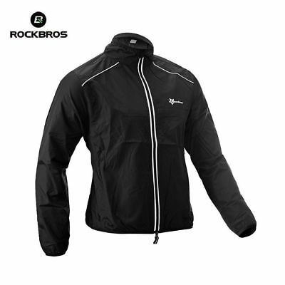 RockBros Bicycle Coat Cycling Coat Wind Coat Rain Coat Long Sleeve Black