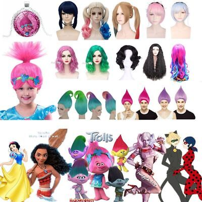 Peluca Womens Girls Trolls Moana Harley Quinn Snow White Cosplay Wigs Halloween