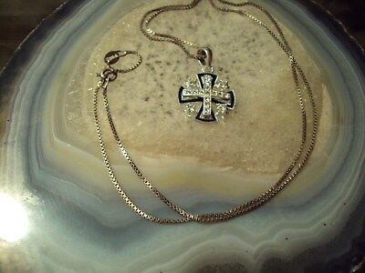 Sterling Silver Box Chain with Maltese Cross marked Jerusalem .925