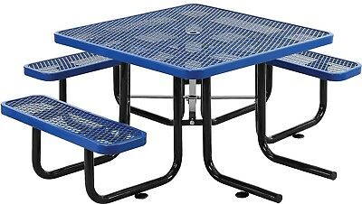 46' Wheelchair Accessible Square Expanded Metal Picnic Table, Blue