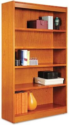 Alera ALEBCS56036MC Square Corner Wood Veneer Bookcase, 5-Shelf, 35 Cherry