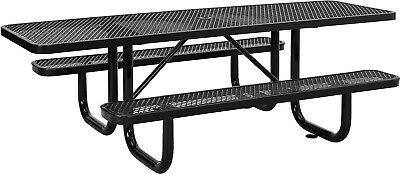 96' ADA Expanded Metal Picnic Table, Black