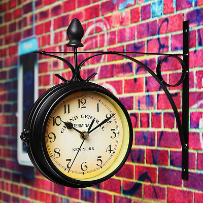 Double Sided Round Wall Mount Station Clock Garden Outdoor Indoor Art Decor
