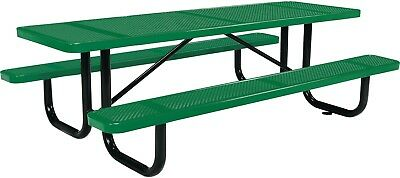96' Rectangular Perforated Picnic Table, Green