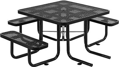 46' Wheelchair Accessible Square Expanded Metal Picnic Table, Black