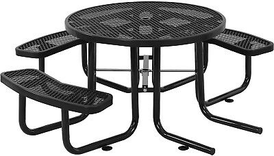46' Wheelchair Accessible Round Expanded Metal Picnic Table, Black