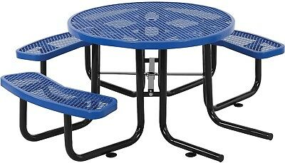 46' Wheelchair Accessible Round Picnic Table, Expanded Metal, Blue