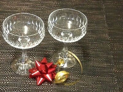 Pair of Vintage CRYSTAL CHAMPAGNE GLASSES