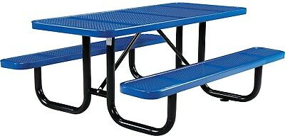 72' Rectangular Perforated Picnic Table, Blue