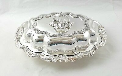 19th C SILVER PLATED ON COPPER ENTRÉE SERVING DISH