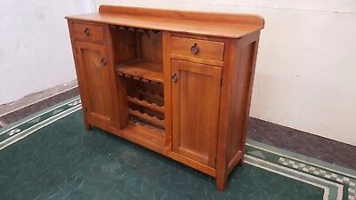 Rustic Sideboard With Wine Rack Solid Timber Buffet With Hanging Glass Storage