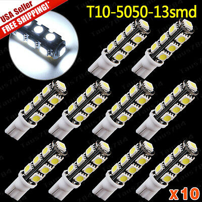 10X Super Bright White T10 13SMD LED Interior Dome License Plate Light Bulbs