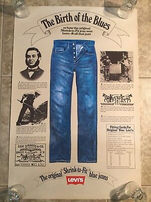 """Vintage Levi's Jeans Advertising Poster """" The Birth Of Blues""""  Original"""