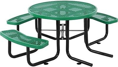 46' Wheelchair Accessible Round Expanded Metal Picnic Table, Green