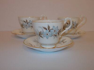 3 x Royal Standard Fine Bone China Small Cups and Saucers Dawn Floral Lovely