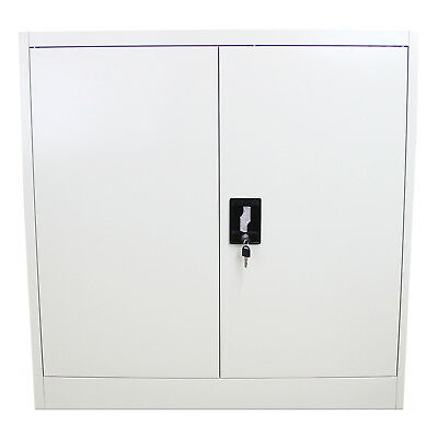 Metal Office Furniture 2 Door Filing Cabinet Storage Document File Lockable 90cm
