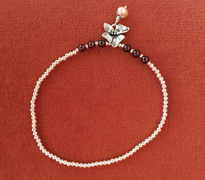 Sterling Silver anklet ankle bracelet elastic anklet Crystal  beach jewelry