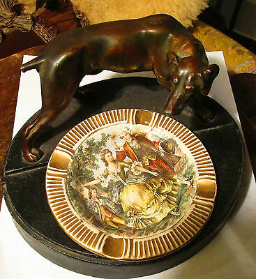 Nuart Creations Nyc - Ashtray W./hunting Dog And Fleetwood 22K  Gold China