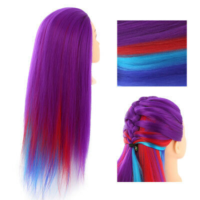 26'' 30% Real Hairdressing Colorful Long Hair Mannequin Doll Training Head+Clamp