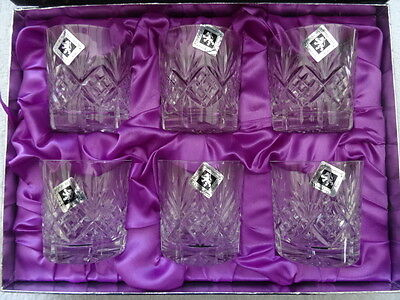 "Edinburgh International Hand Cut Crystal Glasses 3"" Whisky. Set of 6.Boxed.New."