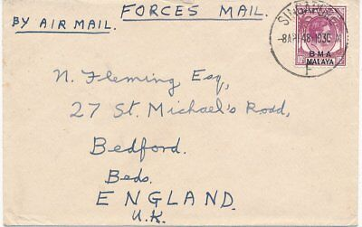 Malaya Singapore British Military Administration 1948 Cover To Bedford