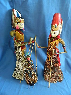 3x Vintage Asian Marionette Theatre Wooden Stick Puppets Collectables