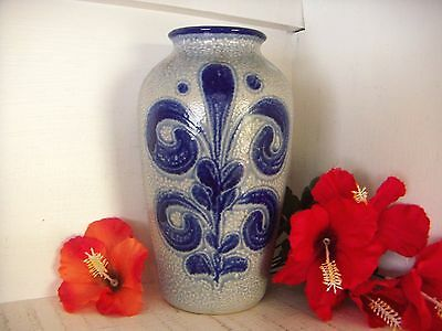 Retro Vase West German Pottery Vase Jasba No 461024 Blue 24Cm Vintage Vase