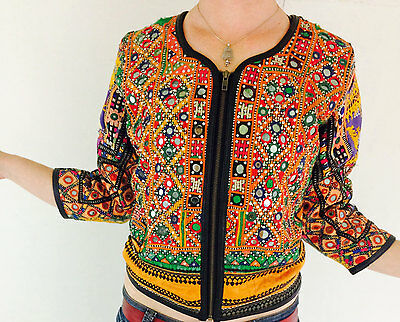 Vintage Kuchi Banjara Tribal Mirror Work Boho Bolero Jacket Leather Trim