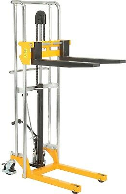 "Manual Lift Stacker 59"" 880 Lb Cap Foot Operated Hydraulic Pump Durable Steel"