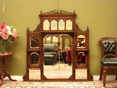 LARGE ANTIQUE CARVED WALNUT BEVELLED WALL MIRROR / OVER MANTLE MIRROR ~ c1880s