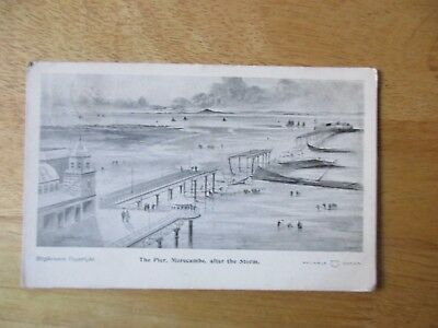 vintage postcard * Morecambe, Lancs  - The Pier, after the Storm * posted 1903