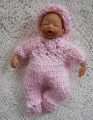 "Doll Clothes Pink footed suit for ooak hand sculpted baby 4"" 5"" fits  A. Drake"