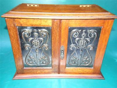 Antique Arts & Crafts -Art Nouveau Oak Smokers Cabinet C.1910