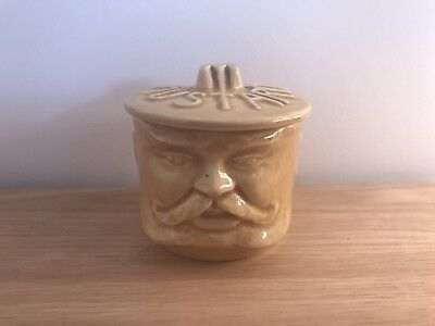 Vintage 60s 70s Mustard Pot with Mustachioed Face Unique Pottery England