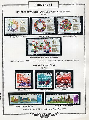 Singapore 1971 page of annotated stamps see scans x 2