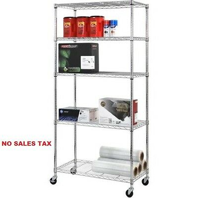 "Chrome Rack 4-Wheeled Wire Commercial Shelving Unit 36""W x 72""H x 18""D"