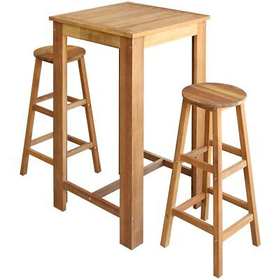 vidaXL Three Piece Bar Table and Stool Set Kitchen Dining Seat Solid Acacia Wood