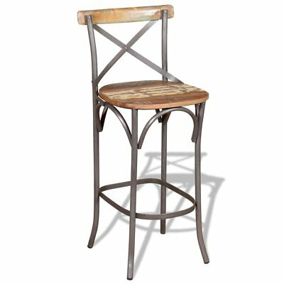 vidaXL Bar Chair High Stool Kitchen Breakfast Dining Seat Solid Reclaimed Wood