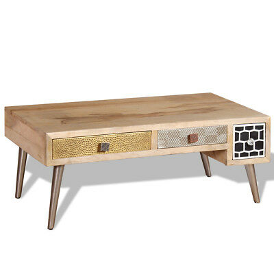 vidaXL Coffee Table Side End Living Room Table with Drawers Solid Mango Wood