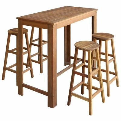 vidaXL Five Piece Bar Table and Stool Set Kitchen Dining Seat Solid Acacia Wood