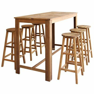 vidaXL Seven Piece Bar Table and Stool Set Kitchen Dining Seat Solid Acacia Wood
