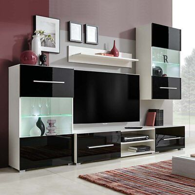 vidaXL Five Piece Wall Display Cabinet TV Unit Chest with LED Lighting Black